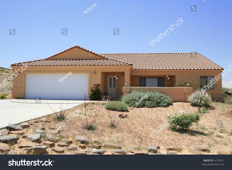Adobe Stucco Southwestern Style House Stock Photo 4135912