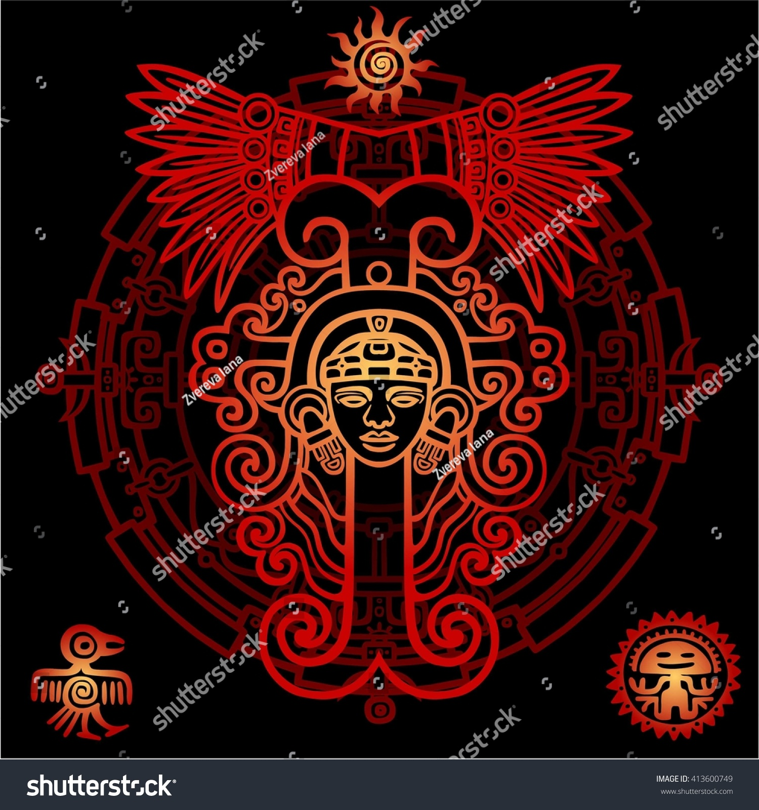 Linear drawing decorative image ancient indian stock vector linear drawing decorative image of an ancient indian deity mystical circle symbols of buycottarizona Choice Image