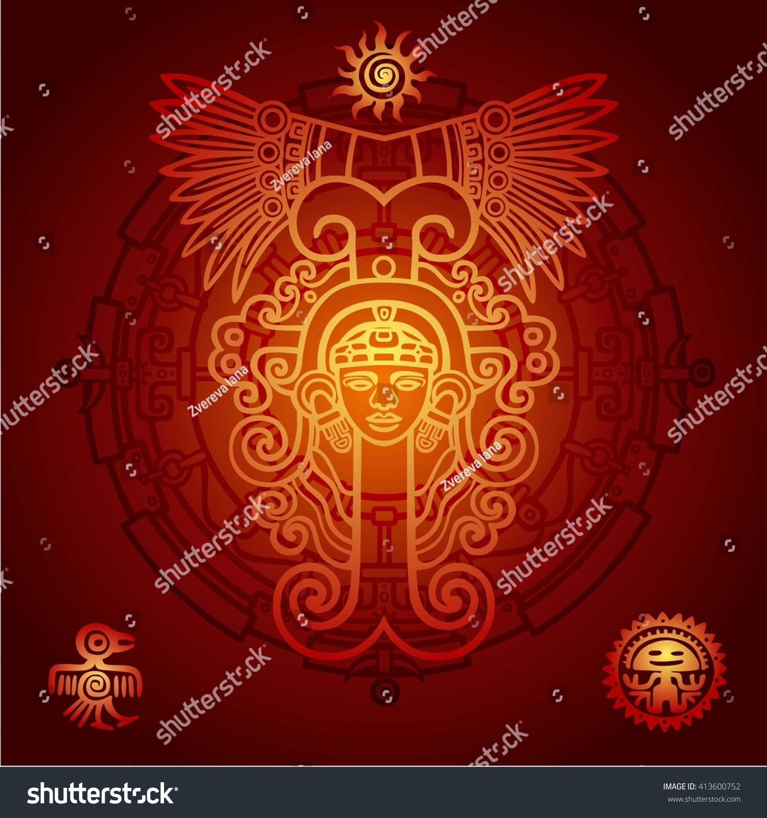 Linear Drawing Decorative Image Of An Ancient Indian Deity