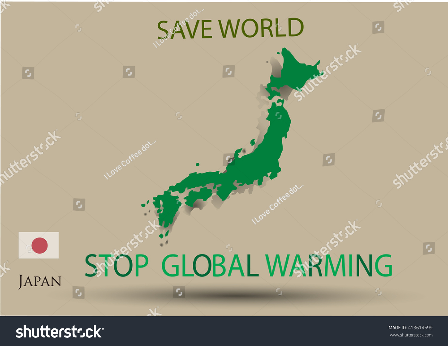 Japan Map Green Color Save Planet Stock Vector - Japan map poster
