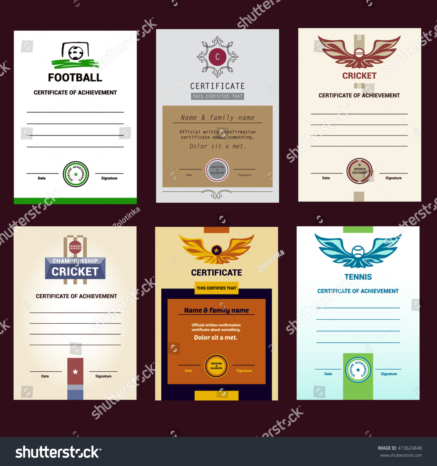 Fine tennis certificate template contemporary example resume and set vector template certificate modern design stock vector alramifo Image collections