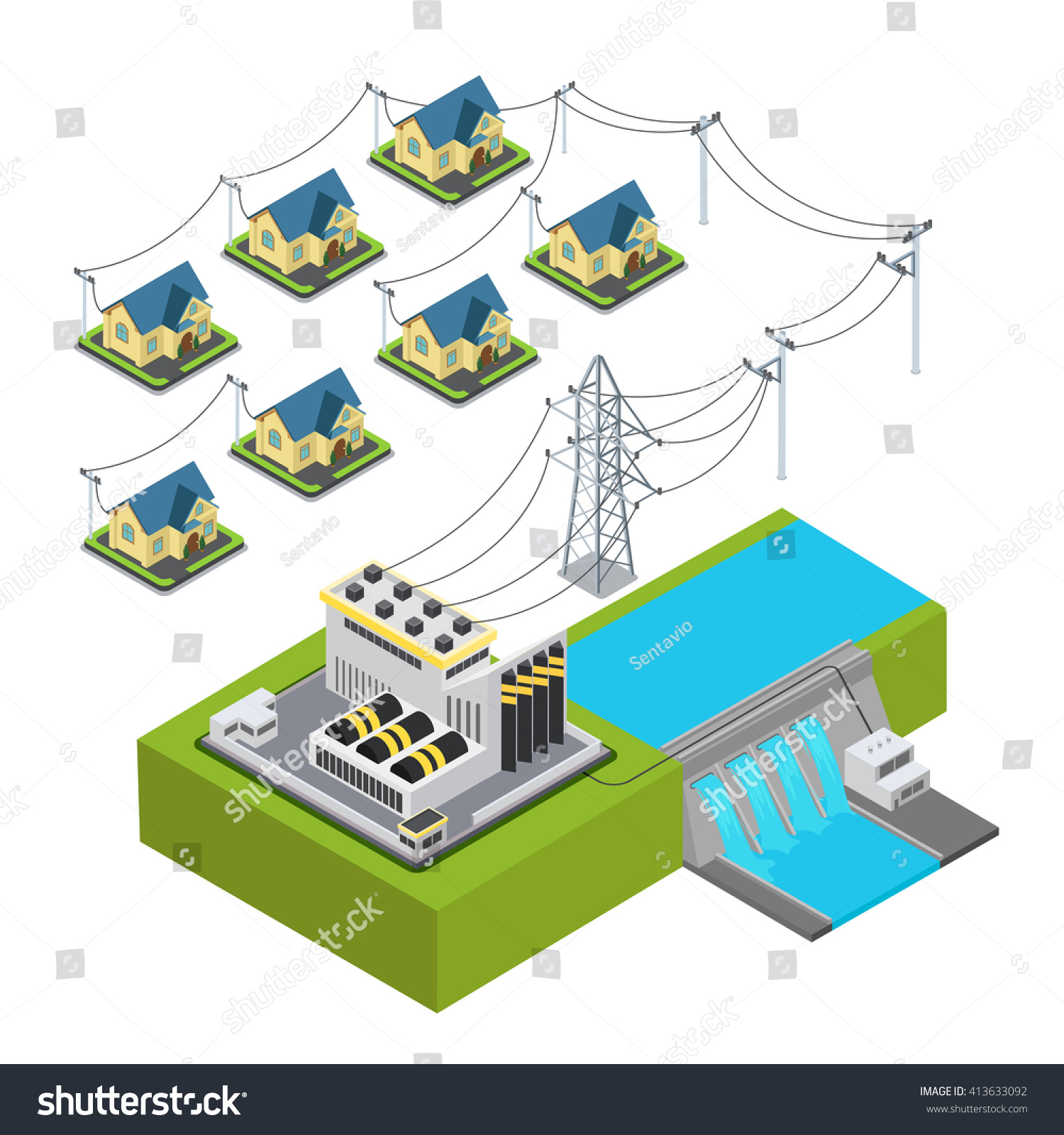 Water power plant energy hydro station green village supply cycle  infographic concept. Flat 3d isometry