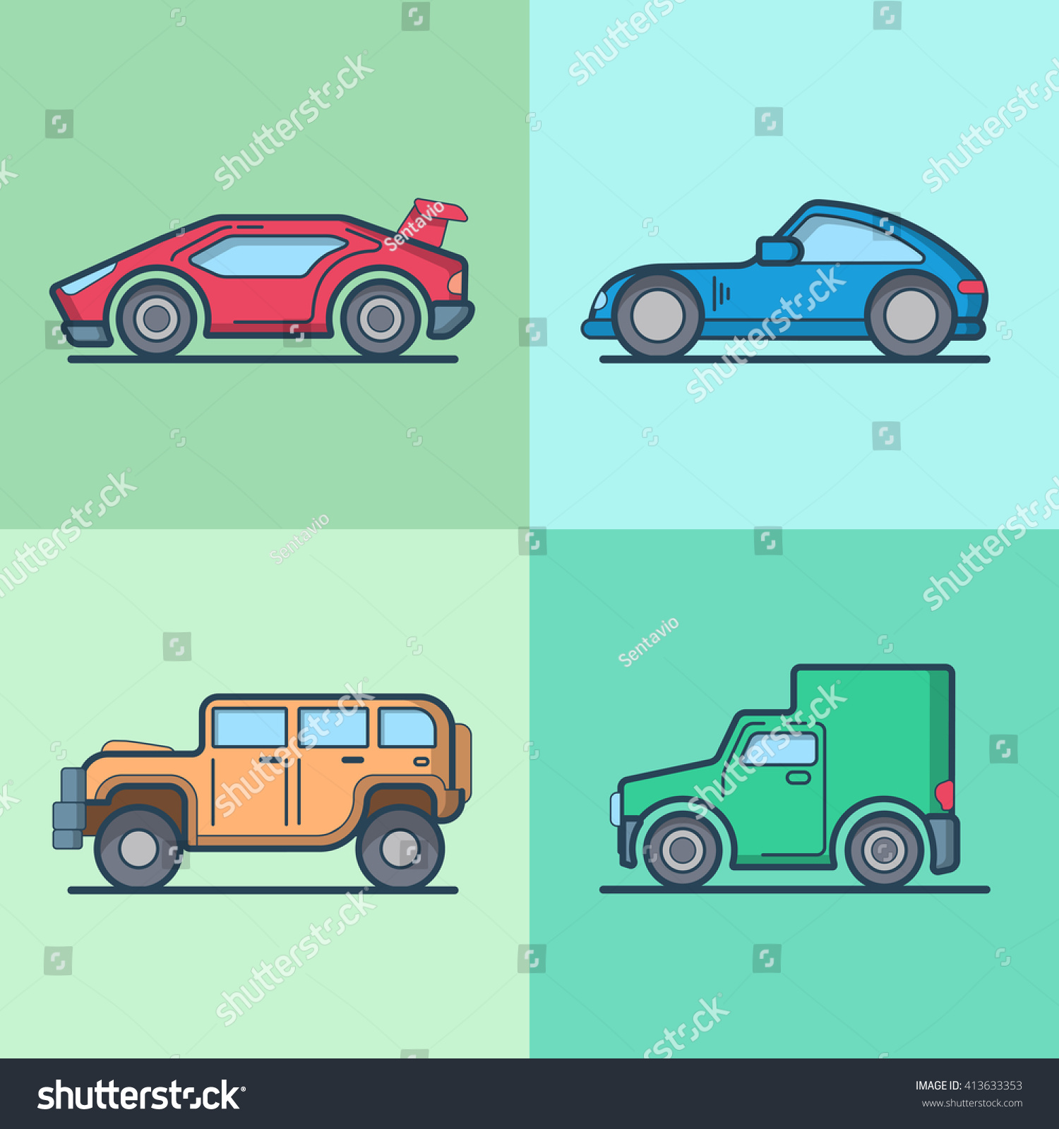 Car Automobile Sportscar Supercar Roadster Jeep Stock Vector