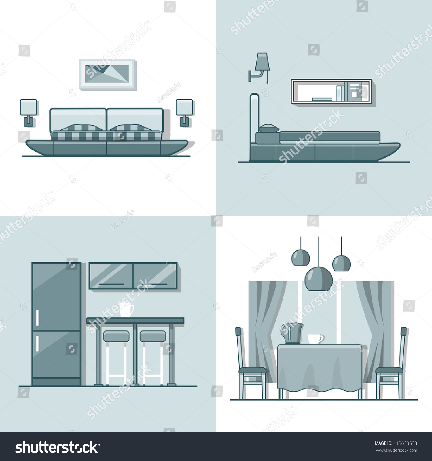 Bedroom Kitchen Living Dining Room Interior Indoor Set Linear Monocolor Stroke Outline Flat Style Vector