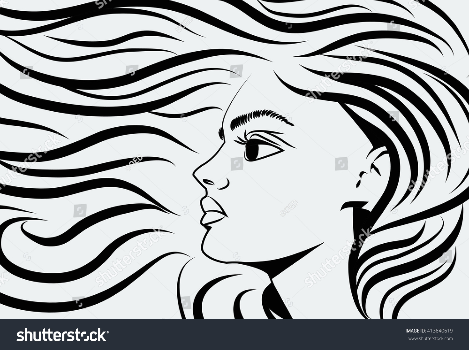 Line Drawing Face Woman : Line drawing woman salon stock vector  shutterstock