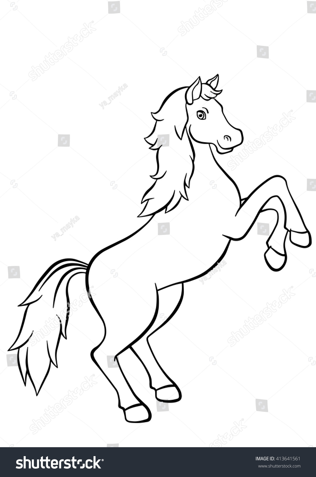 Coloring Pages Animals Cute Horse Jumps Stock Vector 413641561 ...