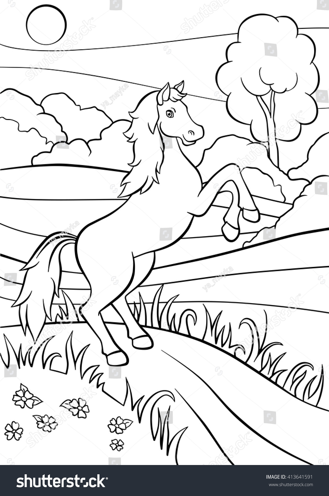 Coloring Pages Animals Cute Horse Jumps Stock Vector 413641591 ...