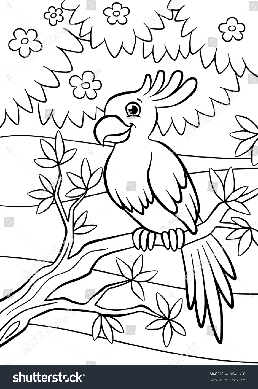 Coloring Pages Birds Little Cute Parrot Stock Vector (Royalty Free ...