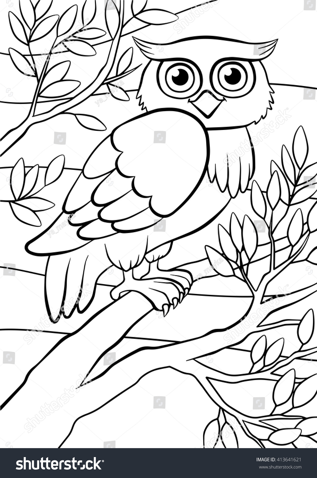 Coloring Pages Birds Cute Owl Sits Stock Vector (2018) 413641621 ...