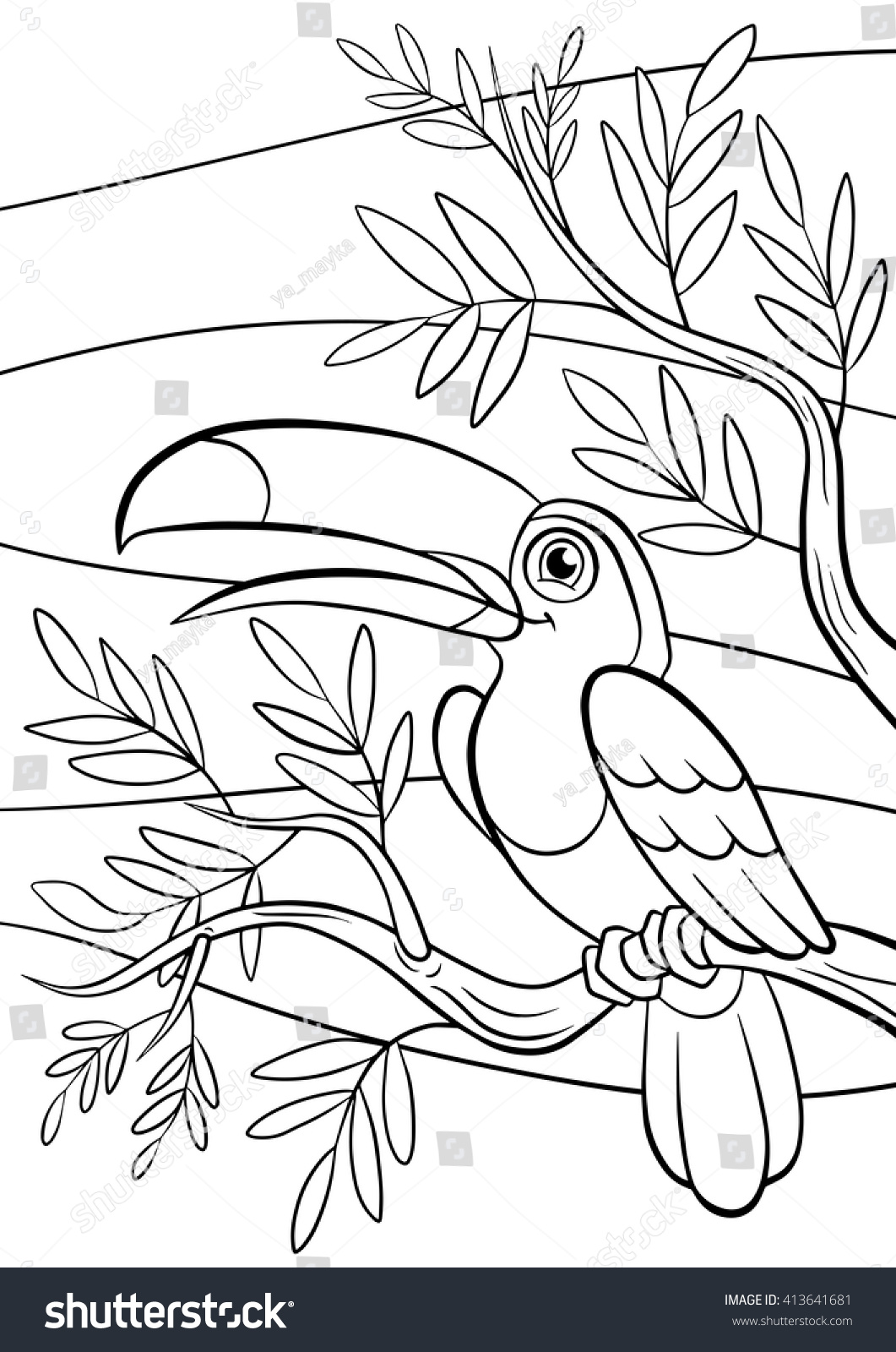 coloring pages birds little cute toucan stock vector 413641681