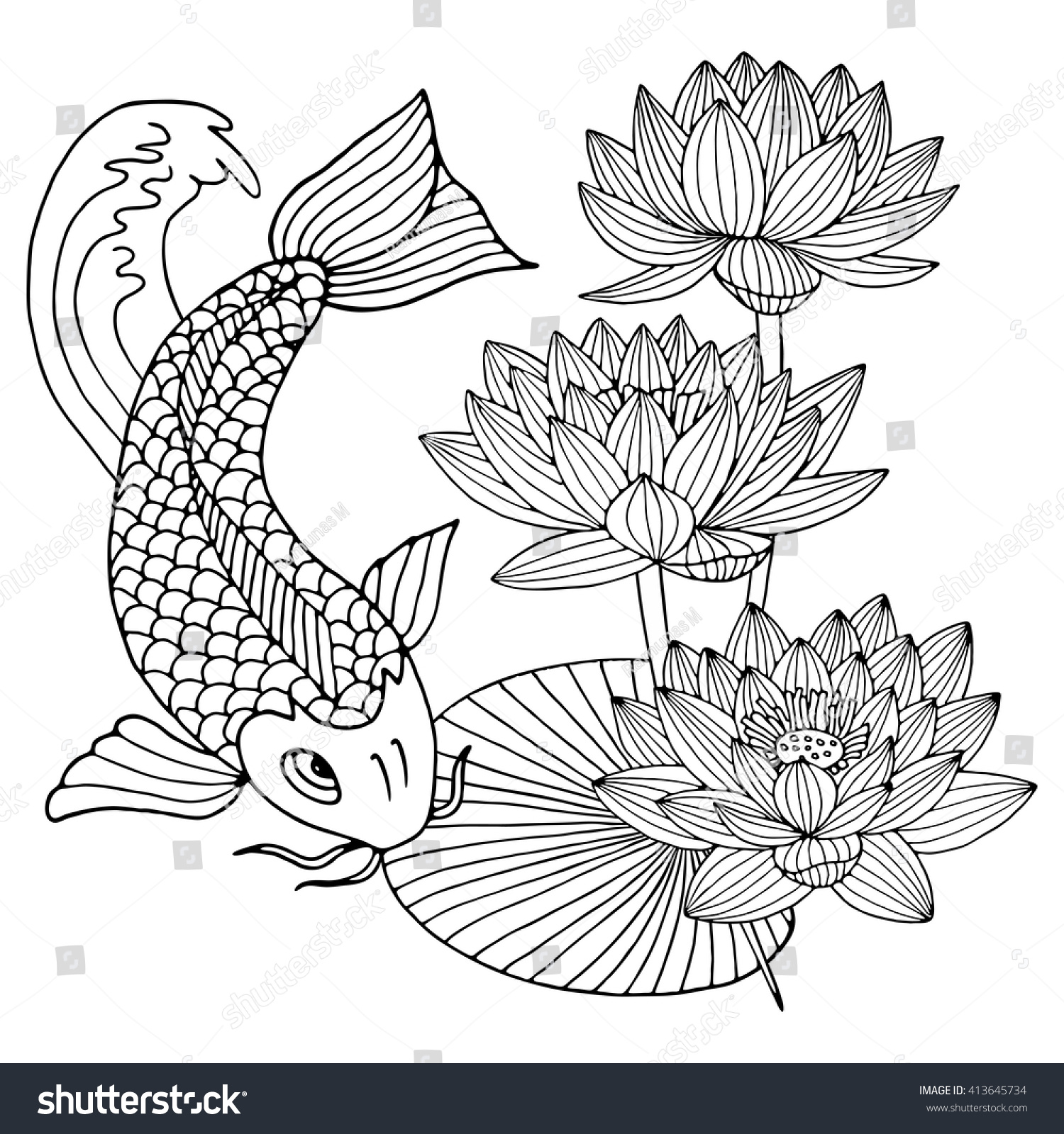 Hand Drawn Outline Koi Fish Gold Stock Vector Royalty Free