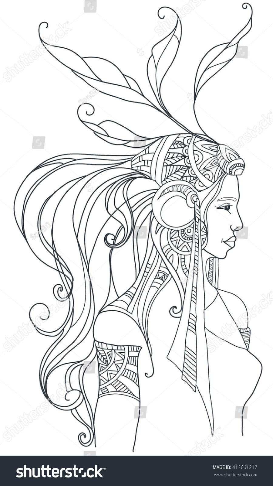 boho style coloring page vector stock vector 413661217
