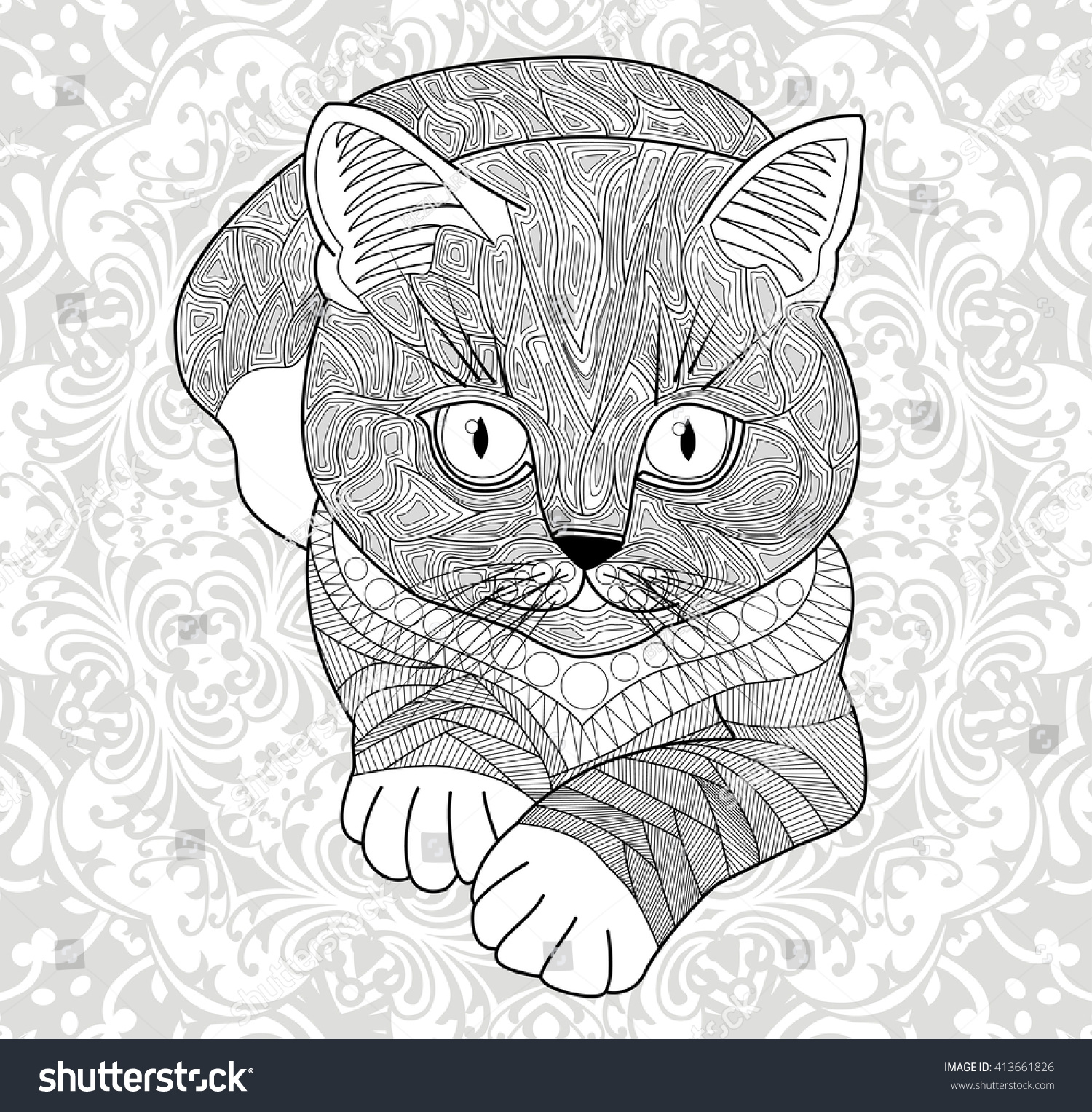 Coloring Pages For AdultsHand Drawn Cat With Ethnic Floral Doodle Pattern Abstract Flower