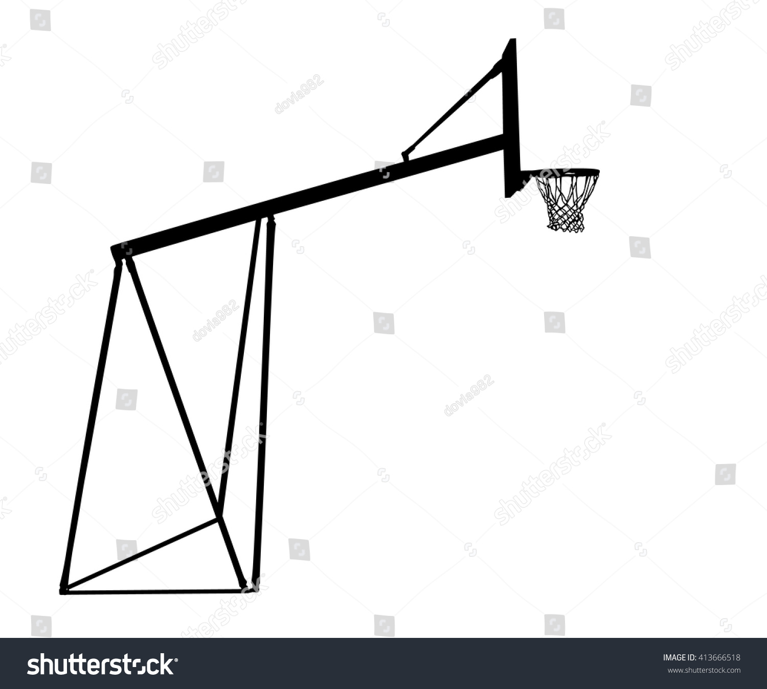 Basketball Hoop Vector Silhouette Illustration Stock Royalty Diagram