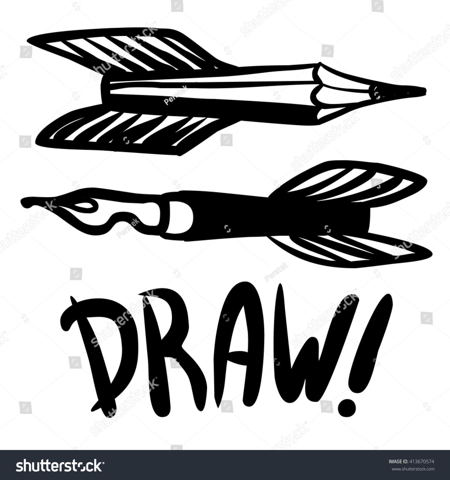 Flying Pens Pencils Symbols Creativity Vector Stock Vector Royalty