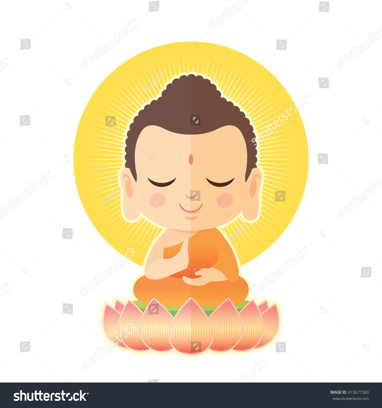 Cute Buddha Cartoon buddha sitting on lotus. cute buddha cartoon ...