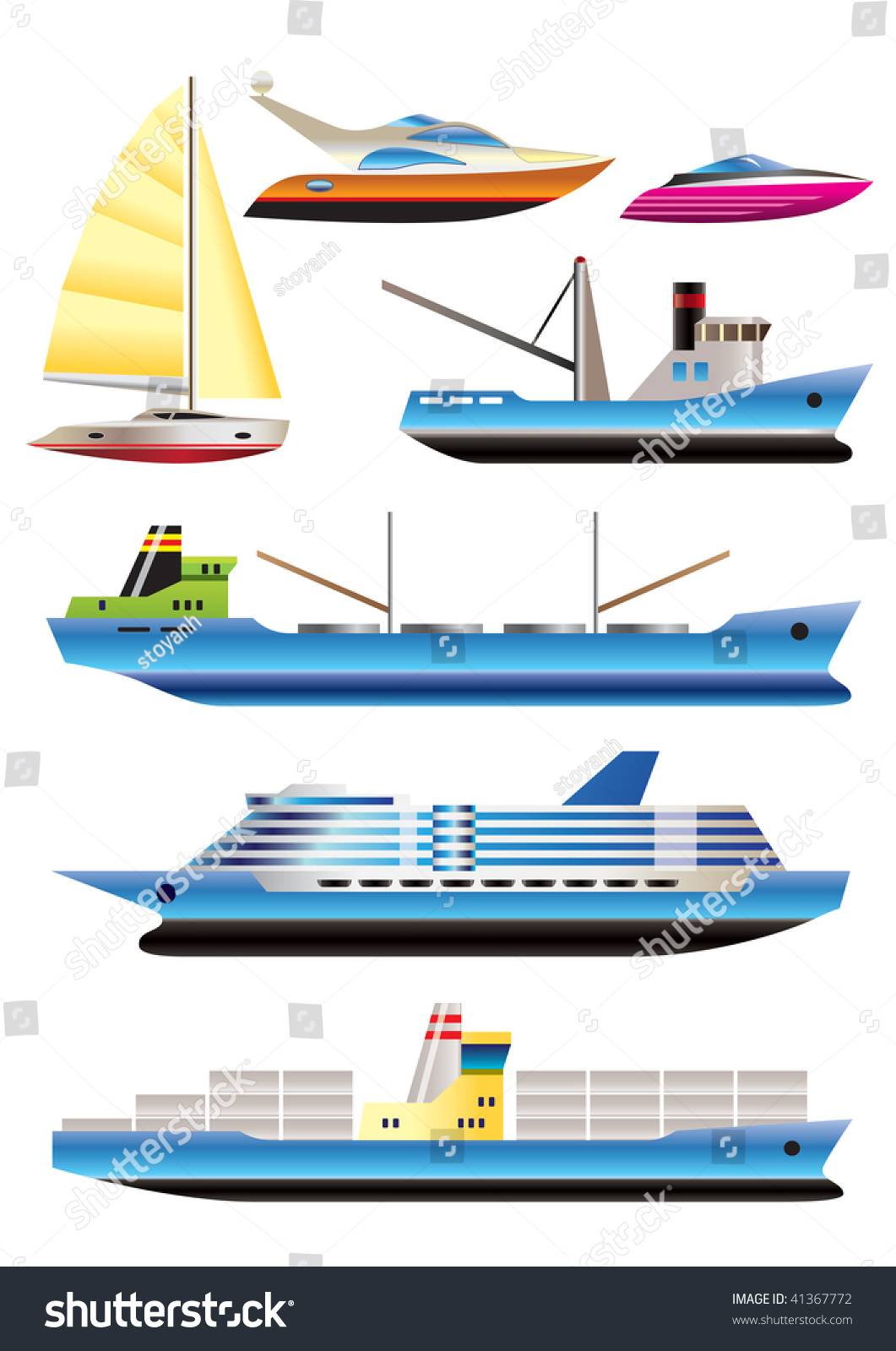 Different Types Boat Ship Icons Vector Stock Vector 41367772 ...
