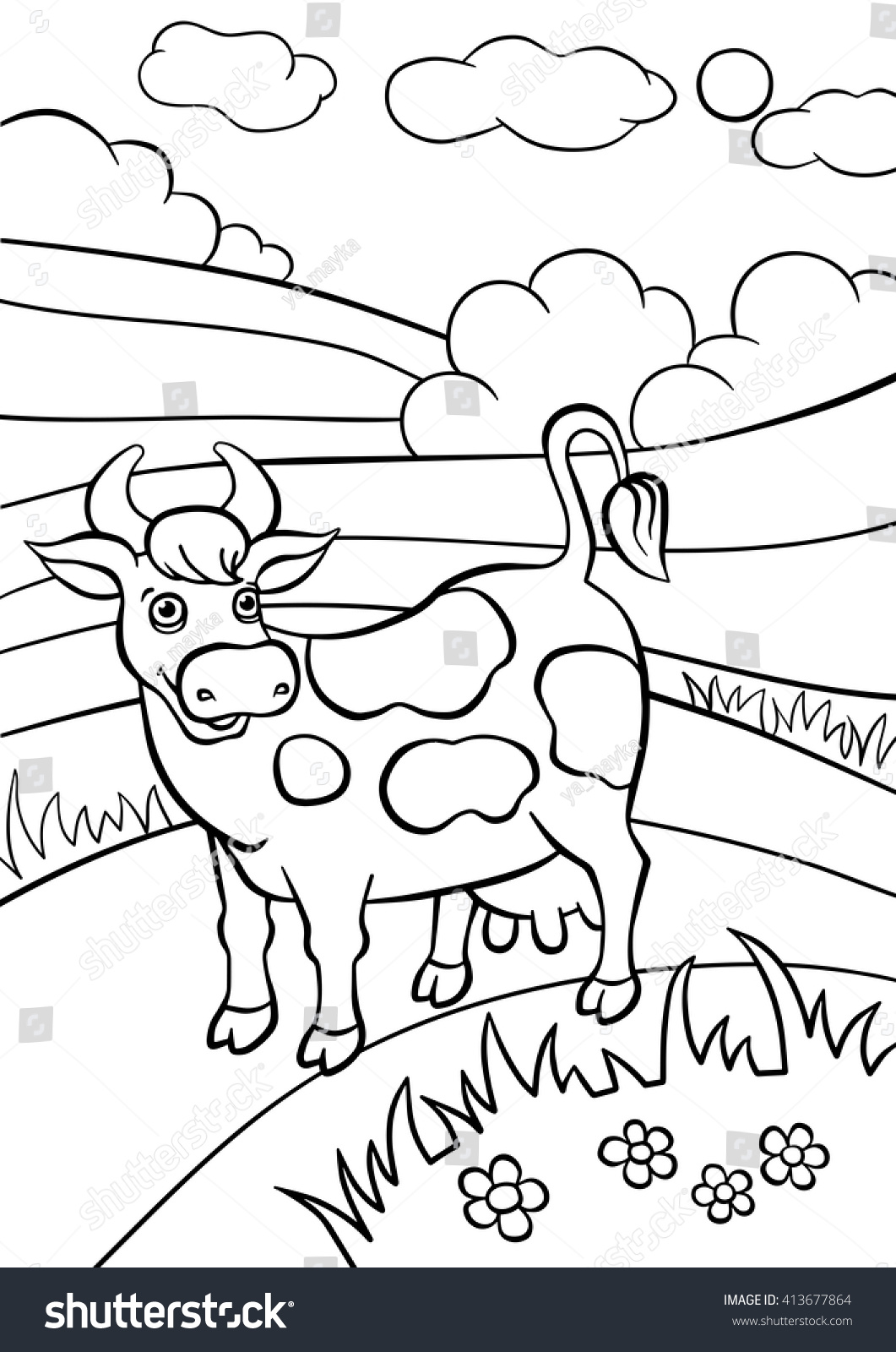 Coloring Pages Animals Cute Cow Stands Stock Vector (2018) 413677864 ...
