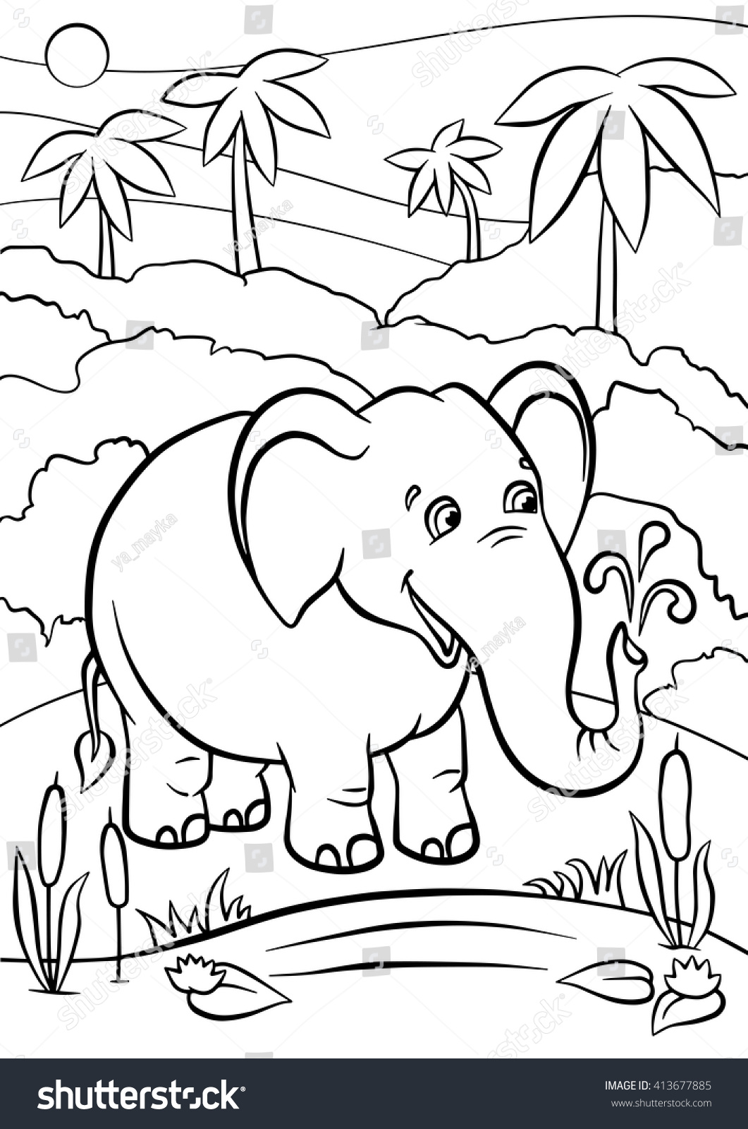 Coloring pages animals cute elephant stands in the forest and smiles