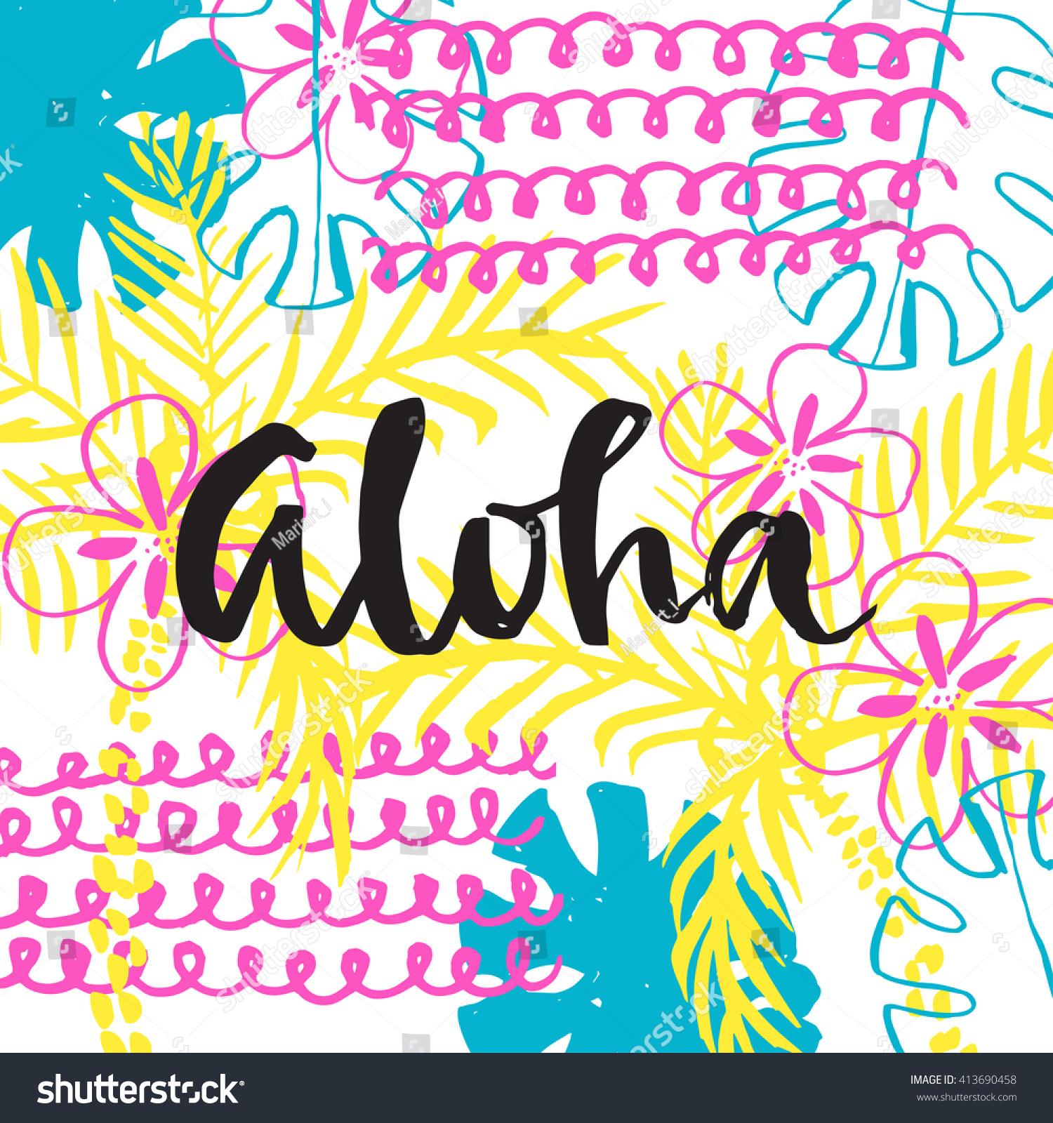 aloha summer card hand drawing lettering stock vector 413690458 shutterstock. Black Bedroom Furniture Sets. Home Design Ideas