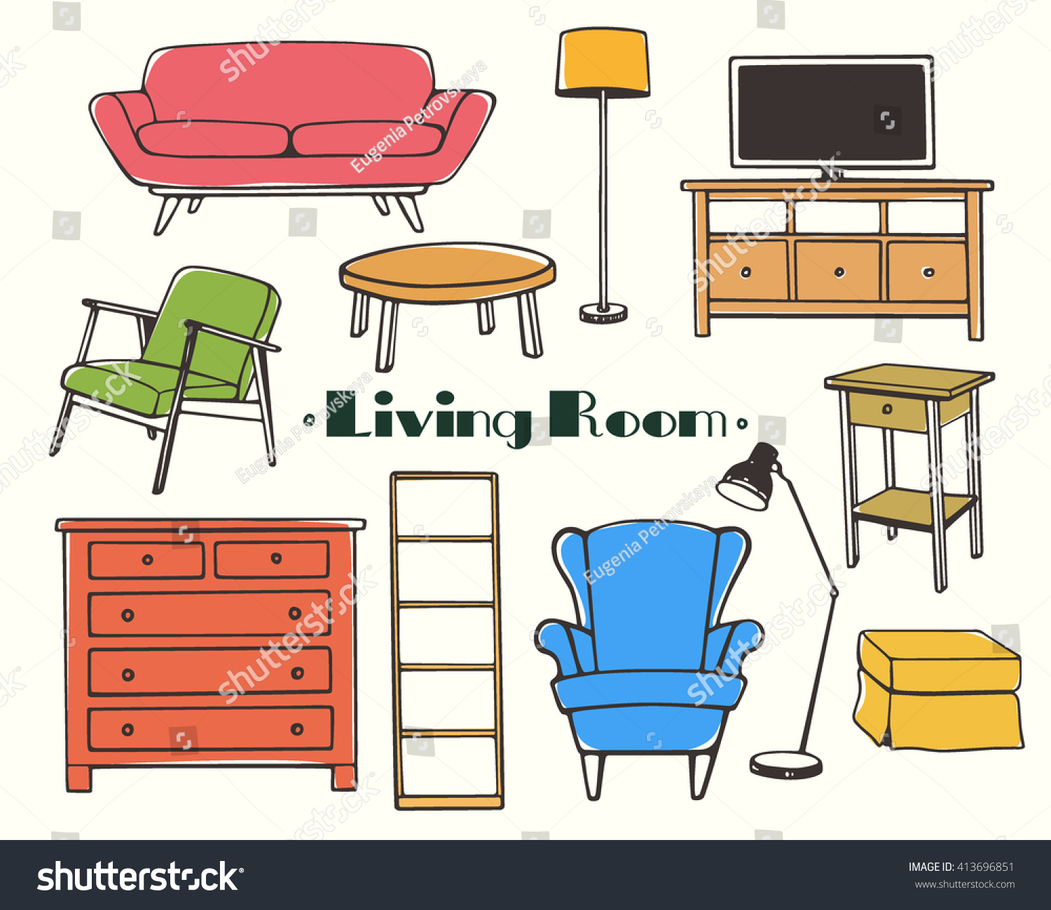 Vector Illustration Of Living Room Furniture Hand Drawn Set Made In Linear Style