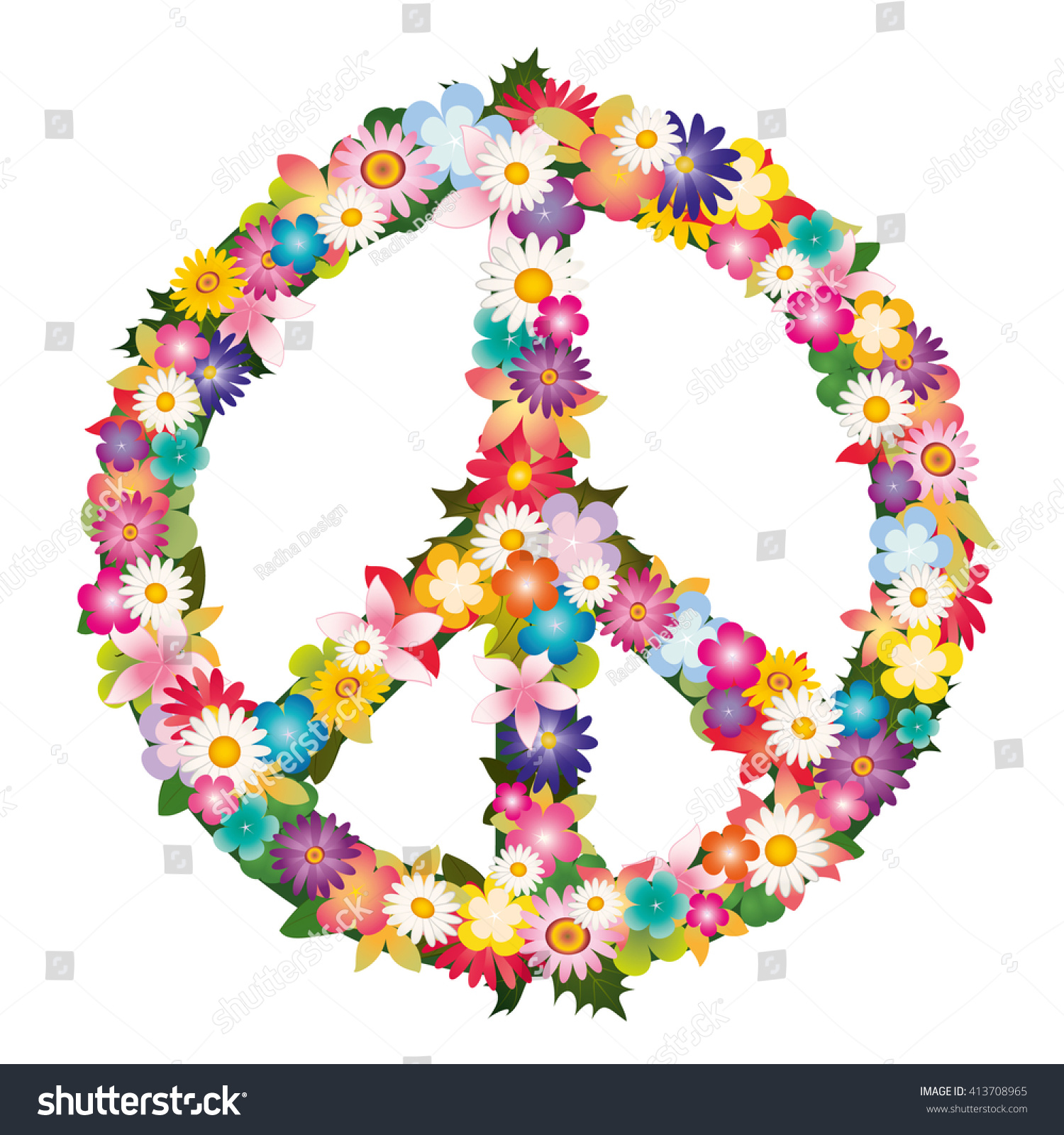 Peace Love Symbol Colorful Flowers Stock Vector Royalty Free