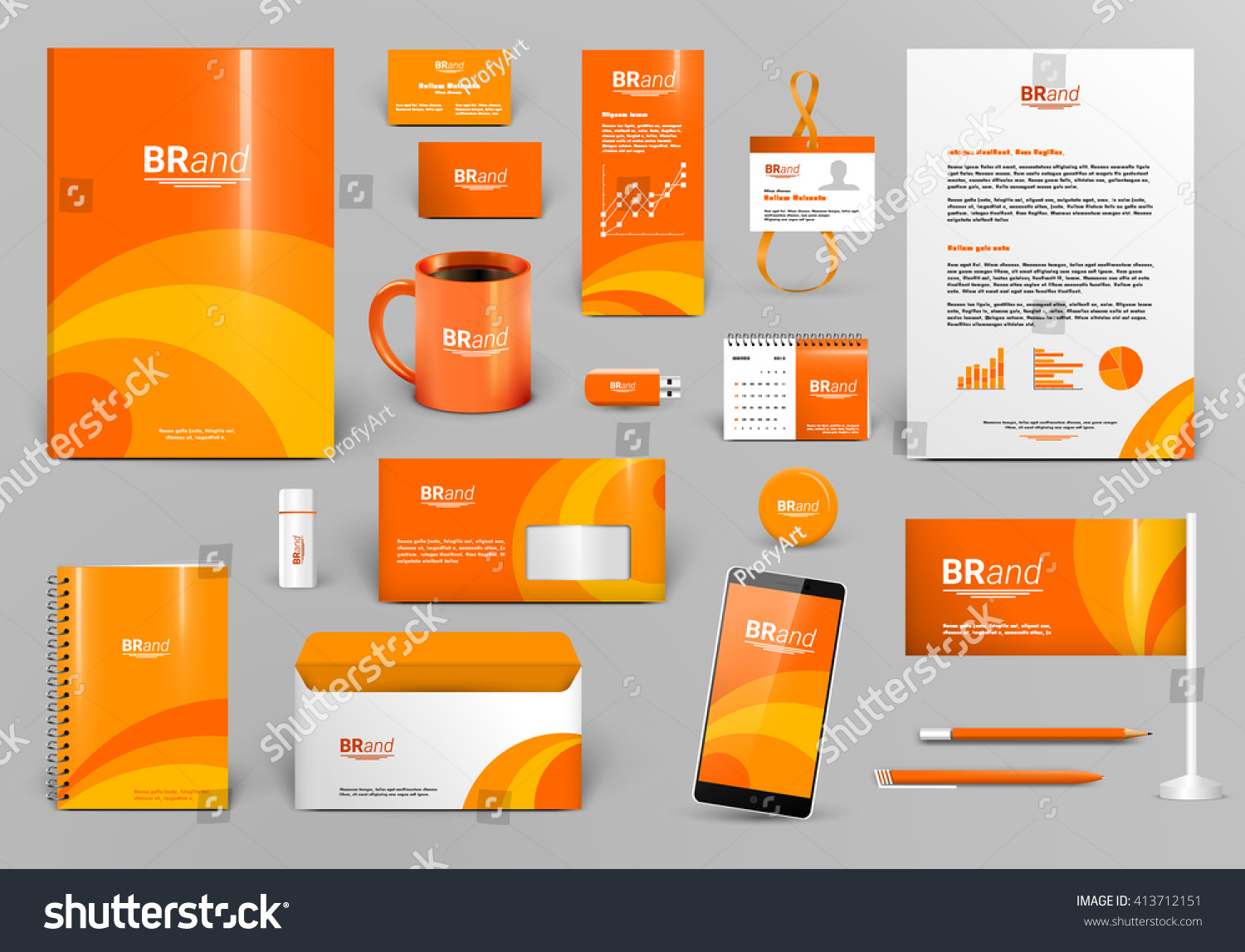 orange luxury branding design kit identity 413712151 shutterstock. Black Bedroom Furniture Sets. Home Design Ideas