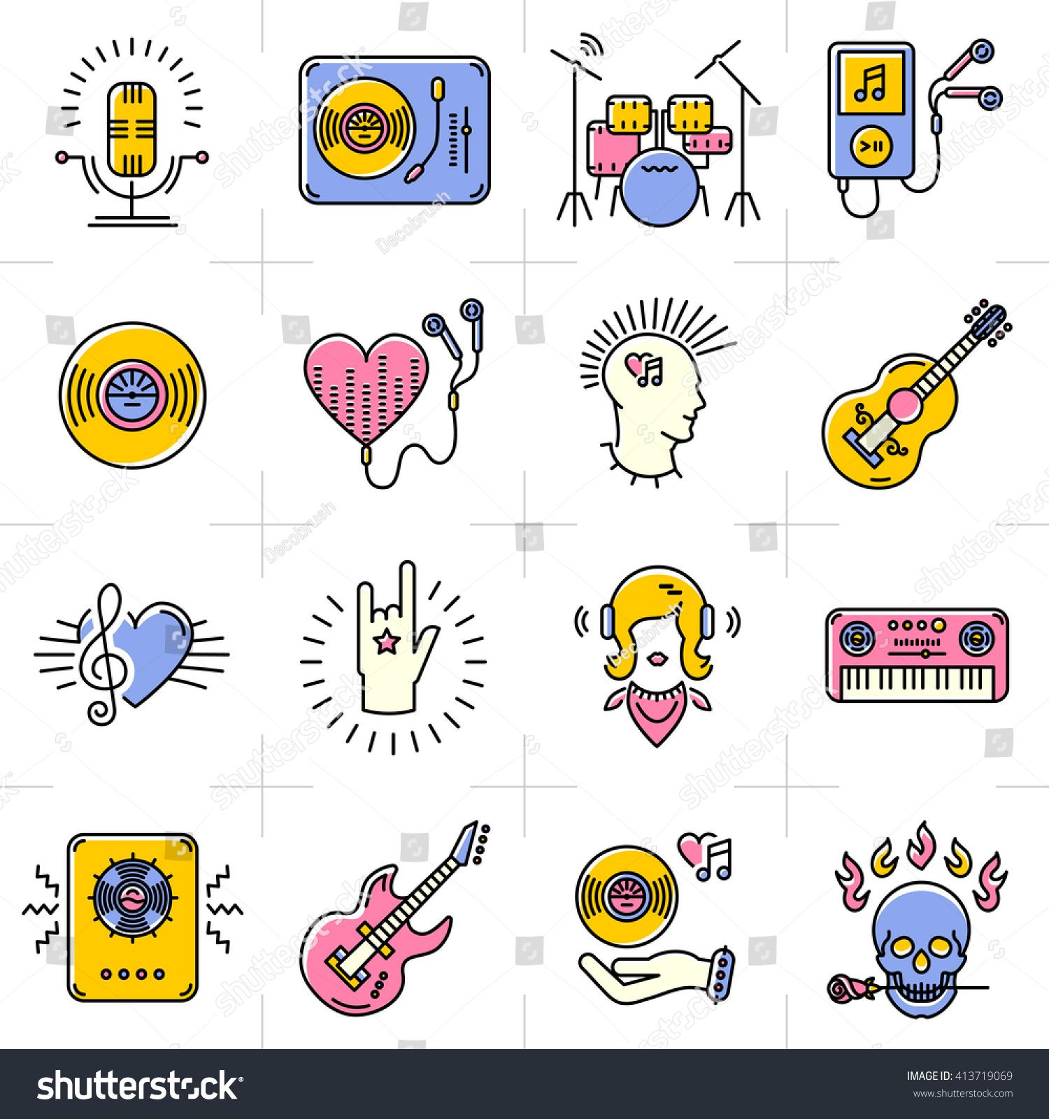 Music Icons Set Rock Punk Jazz Stock Vector Royalty Free 413719069