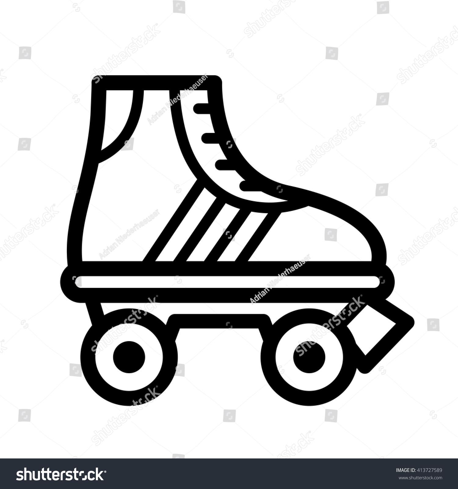 Roller skates book - Black Outline Single Roller Skate Cartoon Illustration Seventies Vector Icon Isolated On White