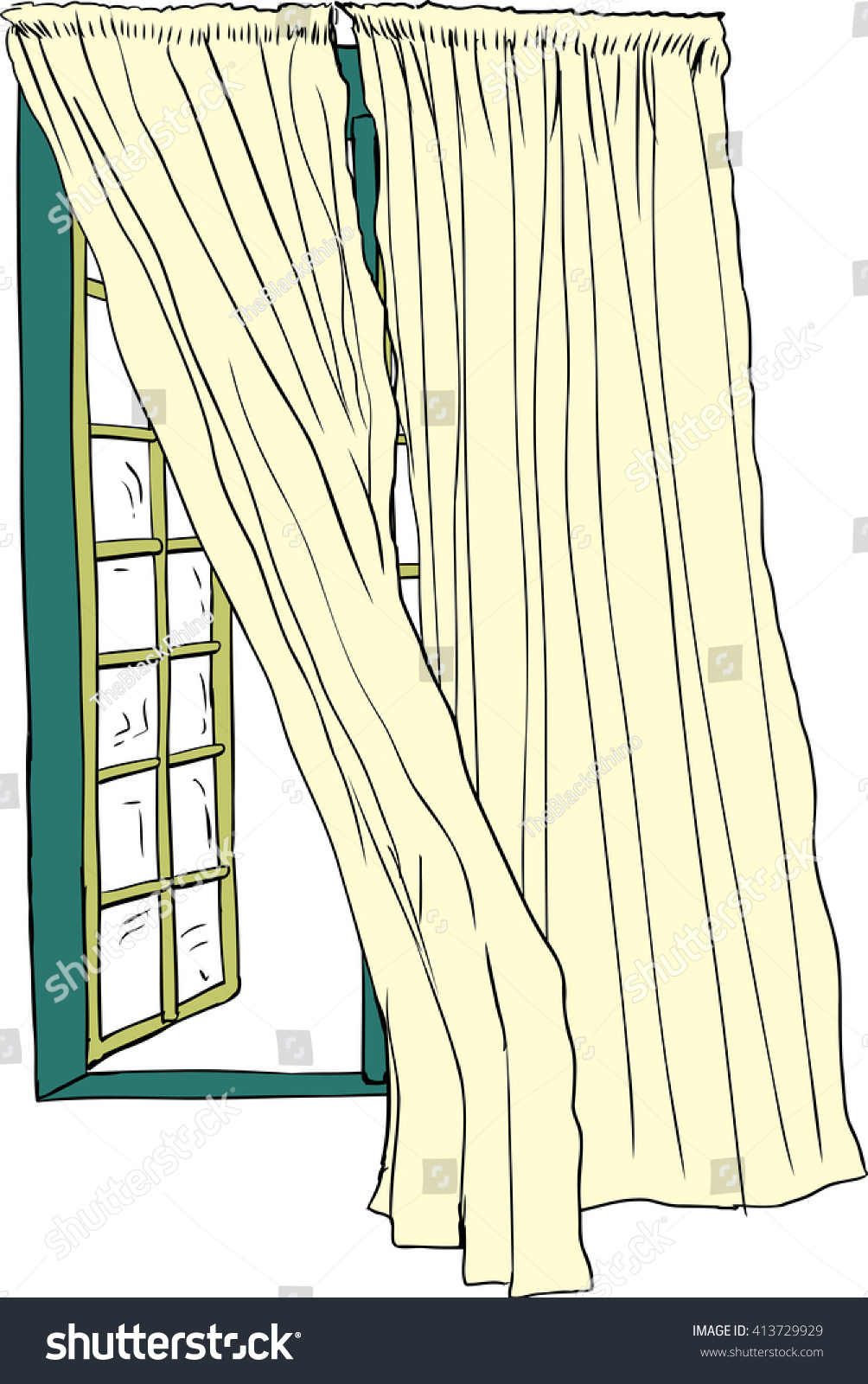 Open window with curtains blowing - Front View On Isolated Hand Drawn Illustration Of Open Casement Window With Blowing Curtains