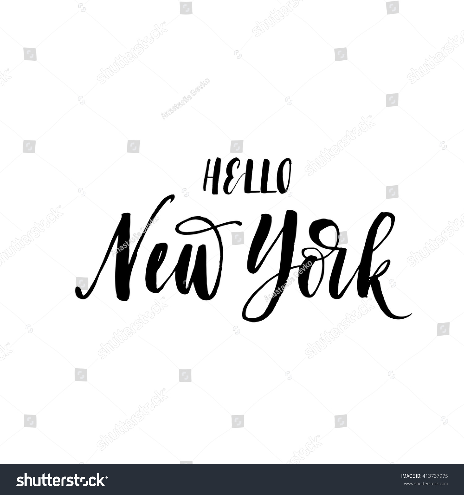 Hello new york card american city hand drawn lettering