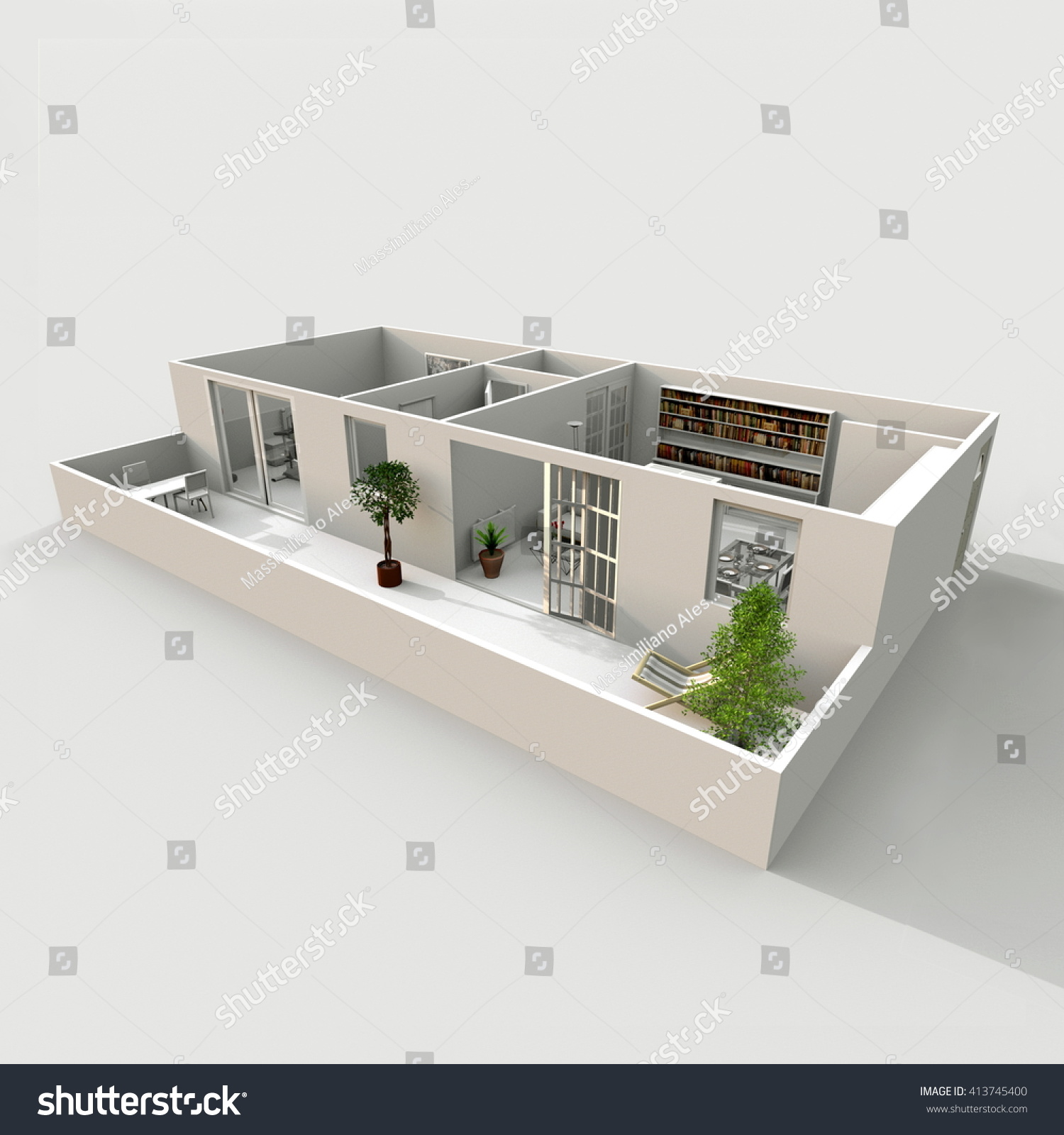 3d Exterior Rendering Of Furnished Apartment Room Kitchen Bedroom Living