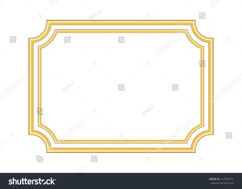 Gold Frame Beautiful Simple Golden Design Stock Vector