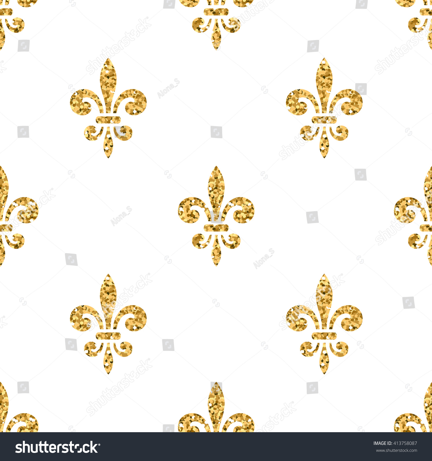 golden fleurdelis seamless pattern gold glitter stock