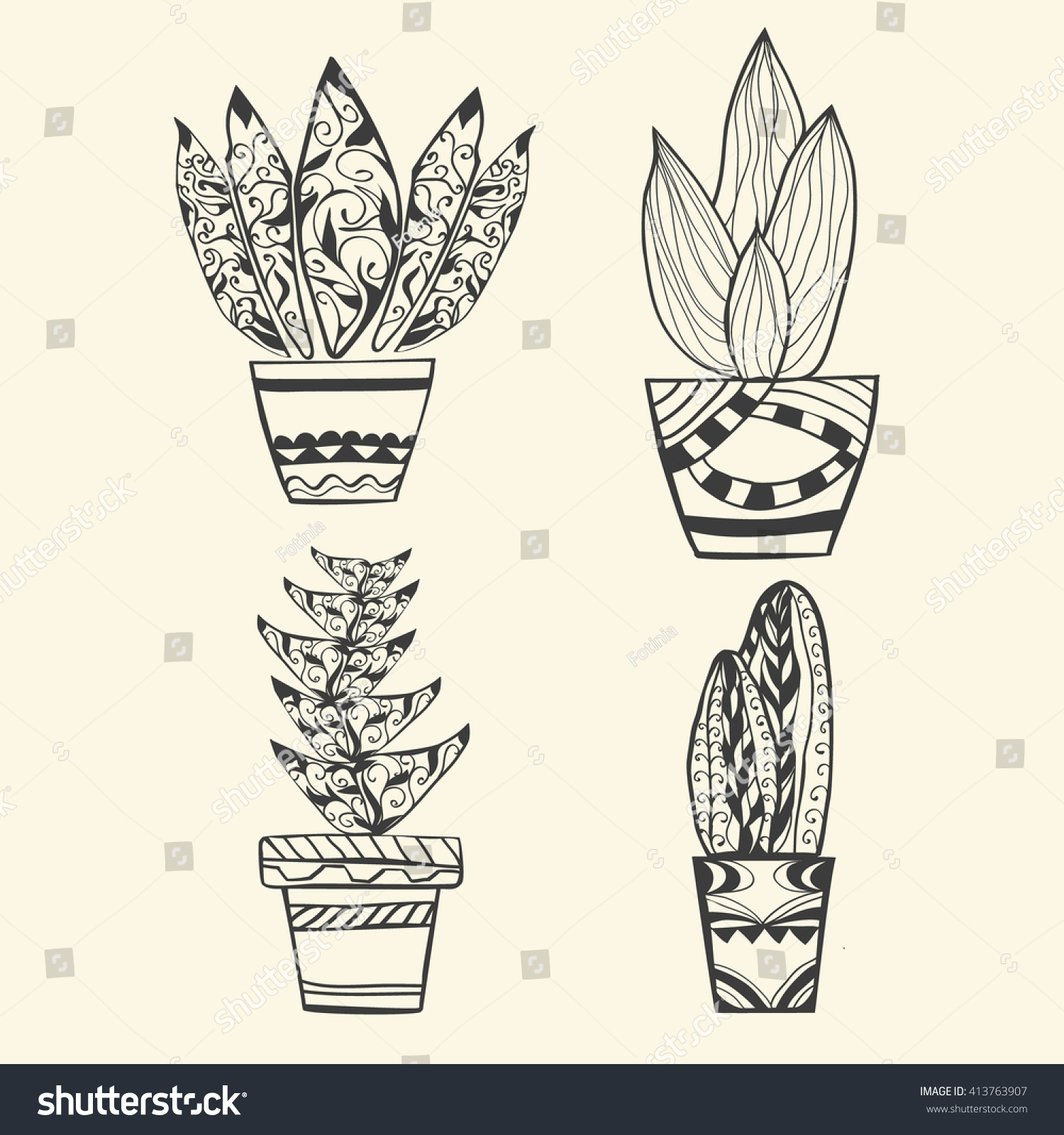 Vector Collection Tropical Plants Pot Zentangle Stock Vektorgrafik
