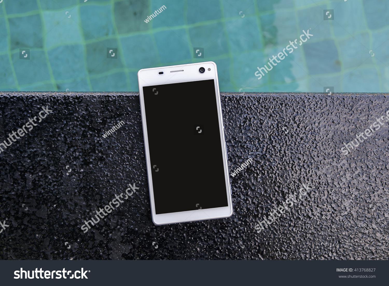 Smartphone Put On Edge Pool Stock Photo (Edit Now) 413768827