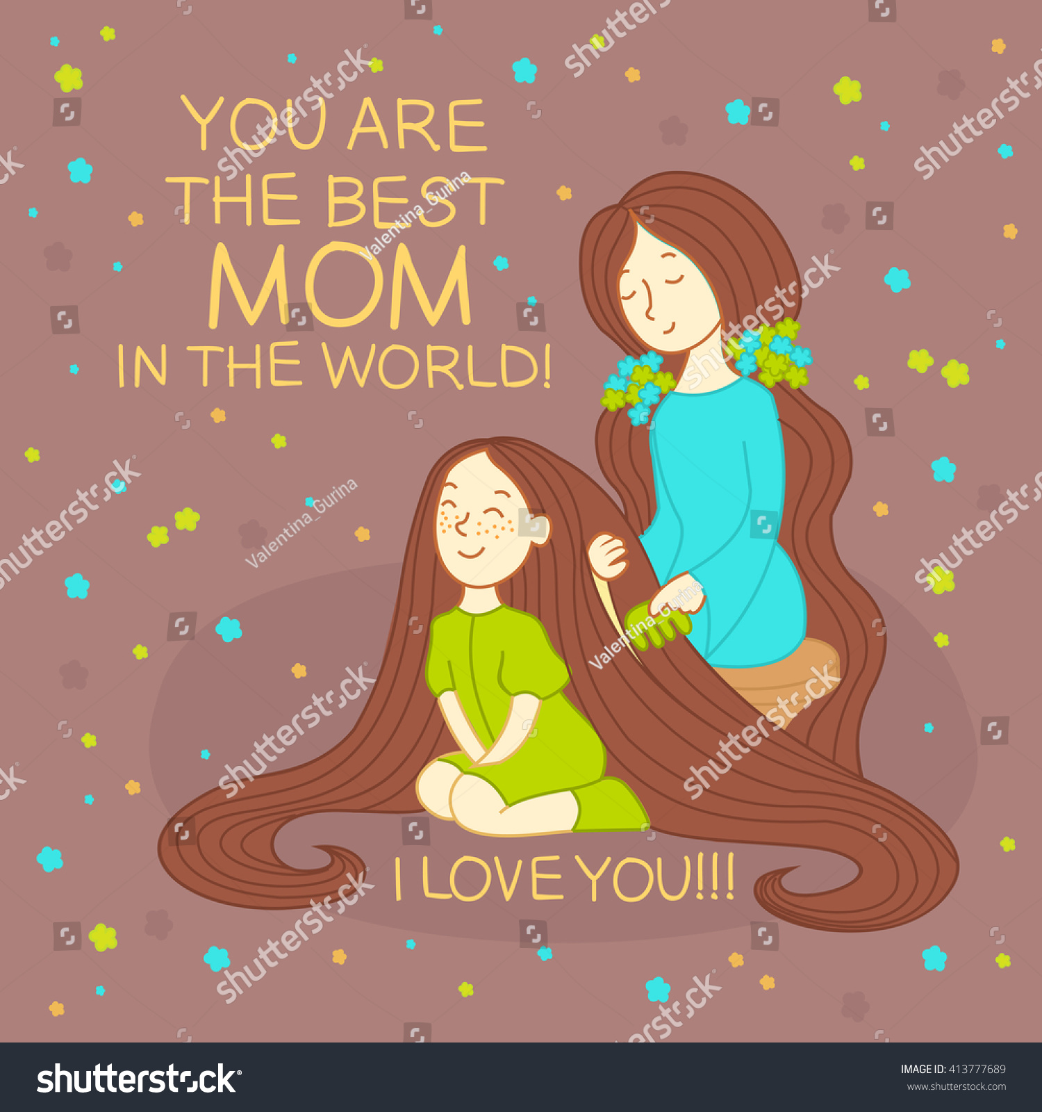 happy mothers day card mother with daughter card for mothers day line illustration