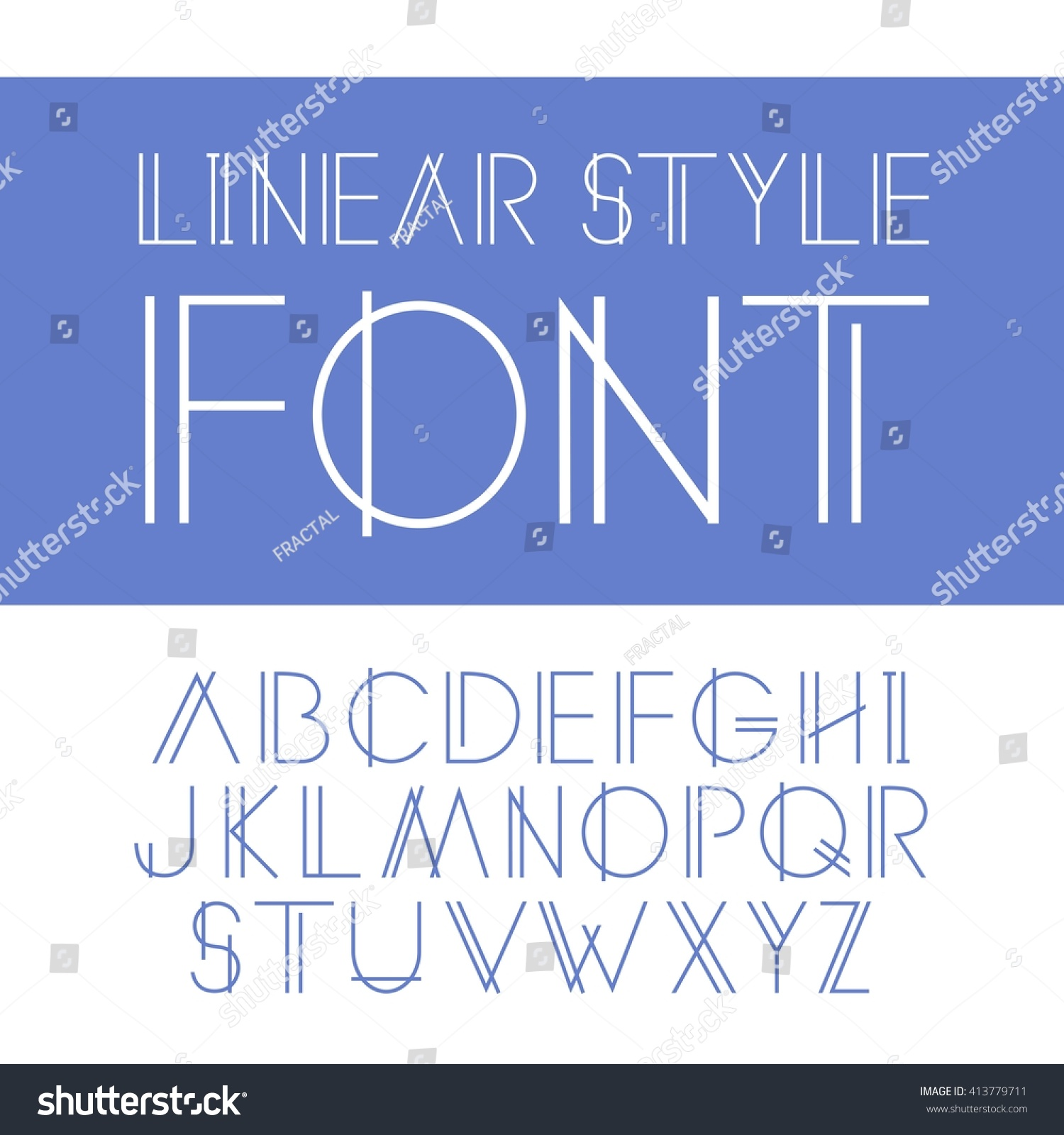 Vector Linear Font Simple Minimalistic Line Stock Vector