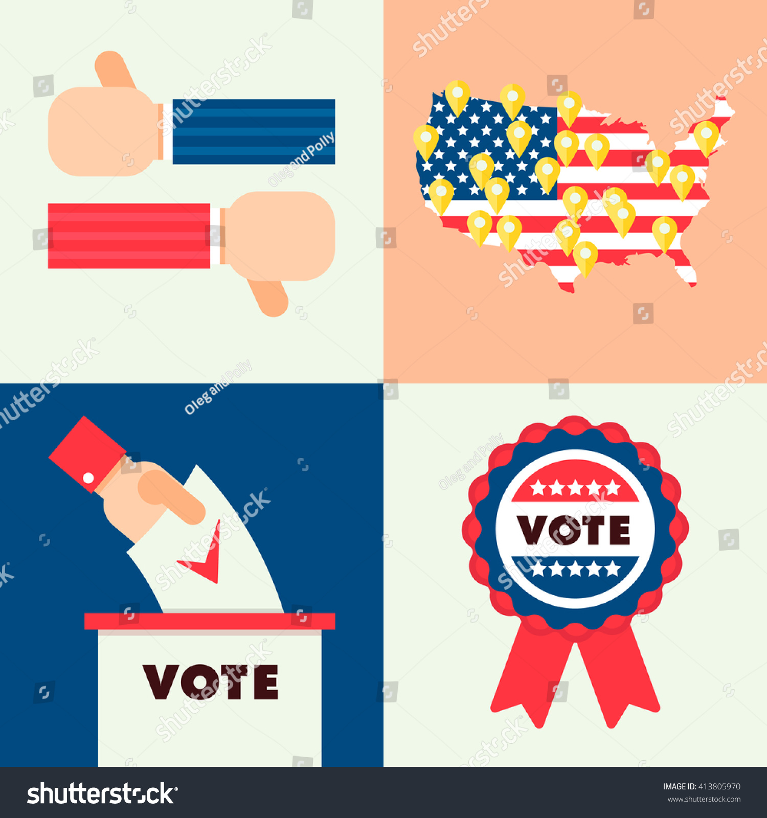 Set Traditional National Elements USA Election Stock Vector (Royalty ...