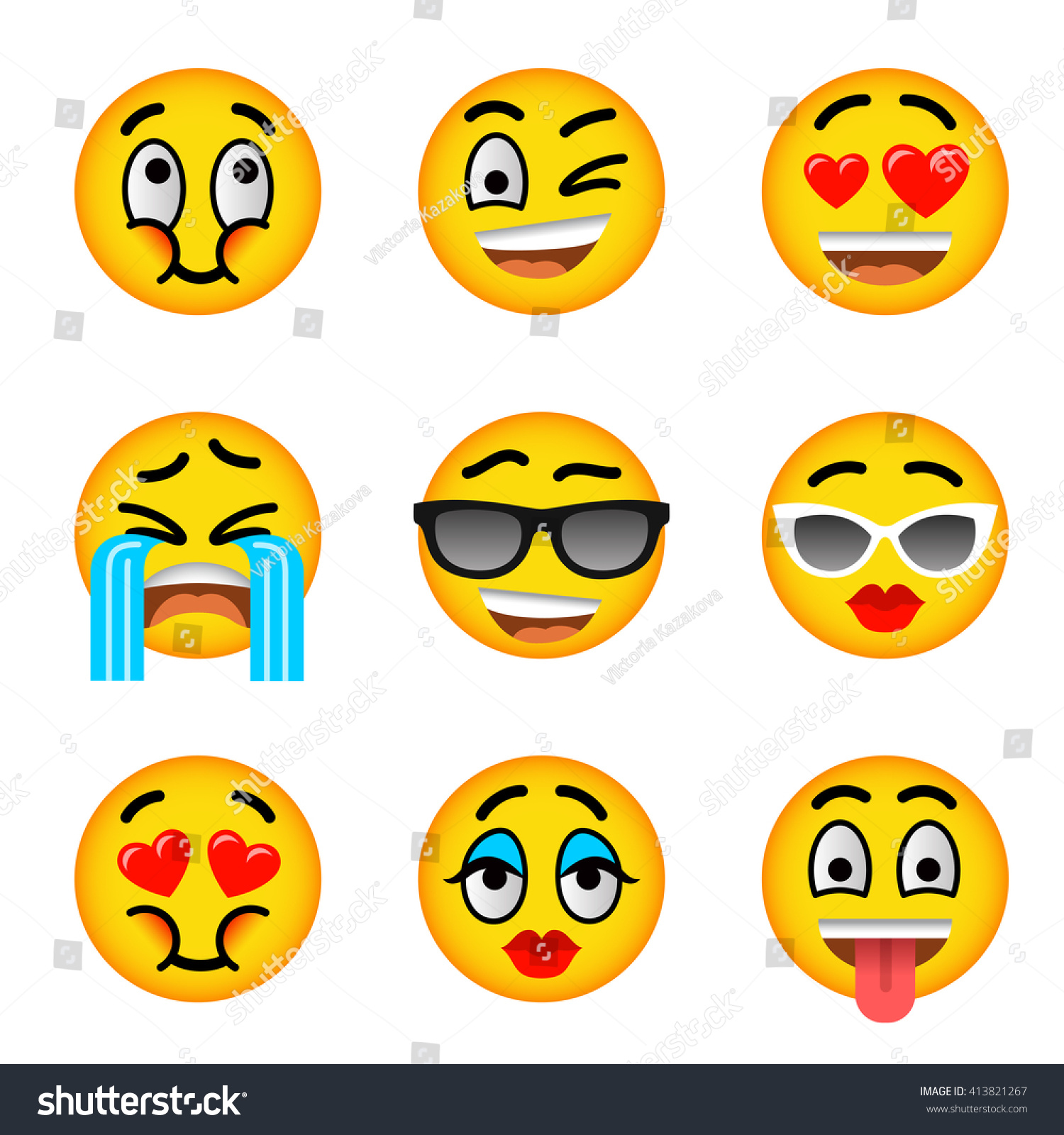 Emoji emoticons smiley face flat vector stock vector 413821267 emoji emoticons smiley face flat vector icons set facial emotions and expression symbols biocorpaavc Gallery