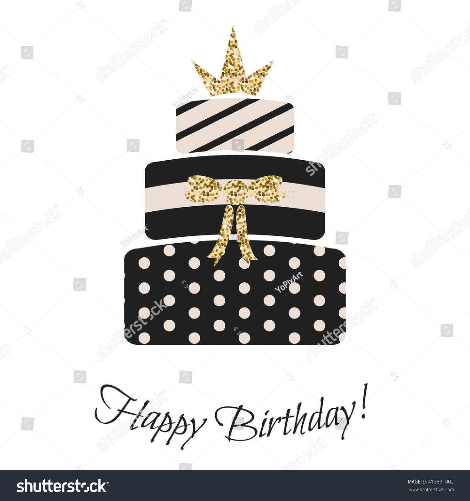 Glam Birthday Cake Girls Black Pastel Stock Vector