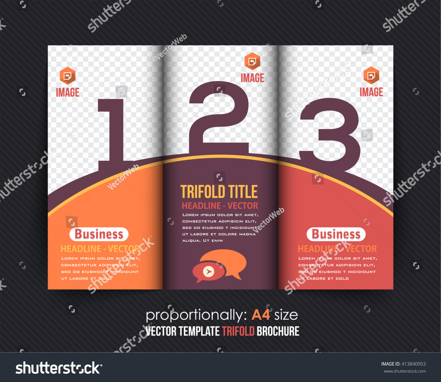 Business Trifold Brochure Numbered Colorful Pages Stock Vector