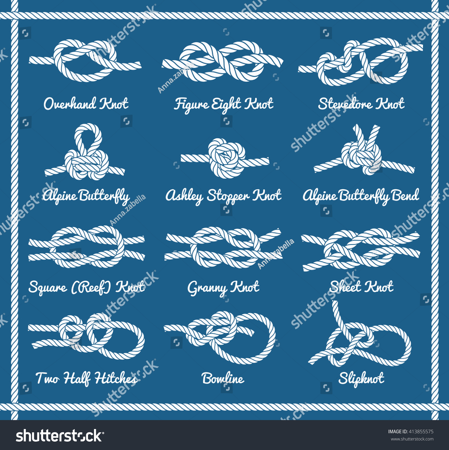 Set Rope Knots Hitches Bows Bends Stock Vector Royalty Free Bowline Knot Diagram Clipart Best Of Decorative Design Part