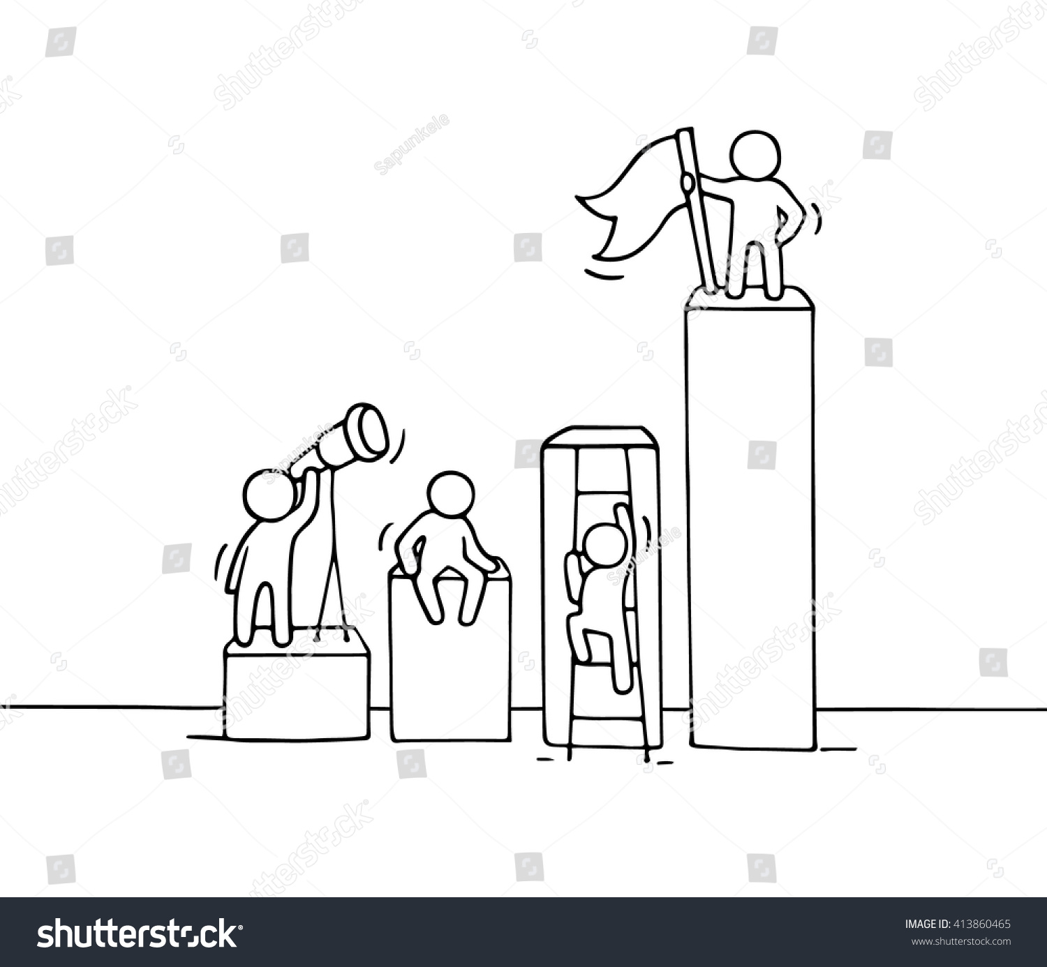 Sketch Diagram Working Little People Doodle Stock Vector 413860465