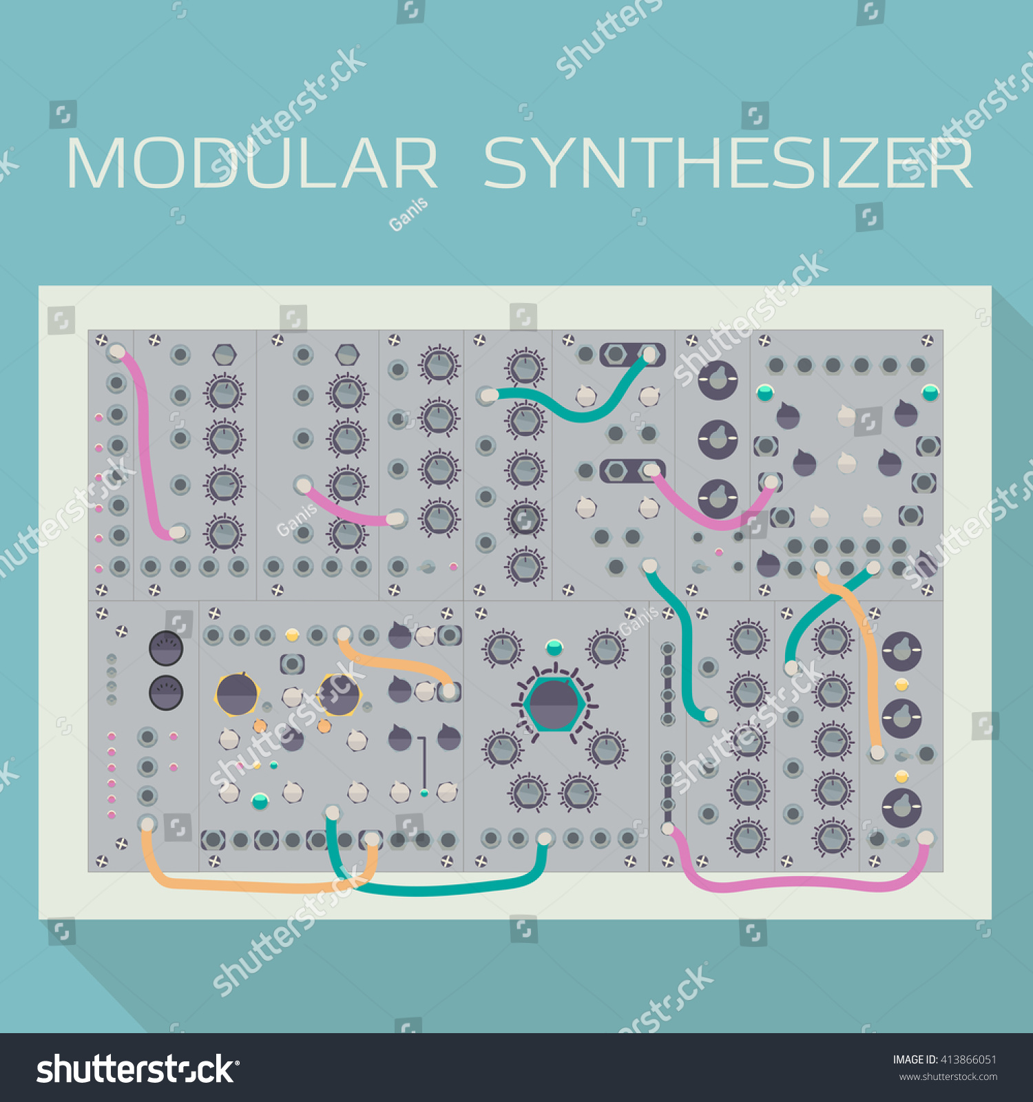 Limited Edition Modular Synthesizer Wires Vector Stock Wiring Diagram Of With Illustration