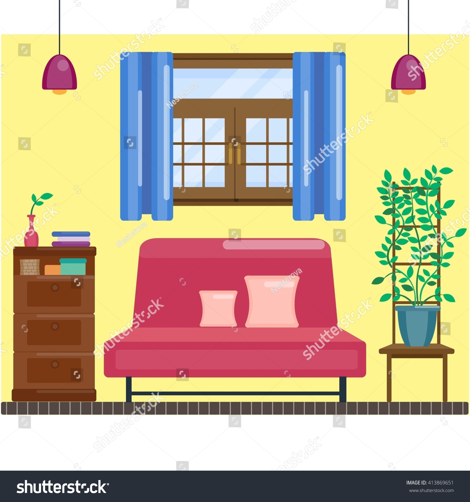 living room interior window curtain comfortable stock vector