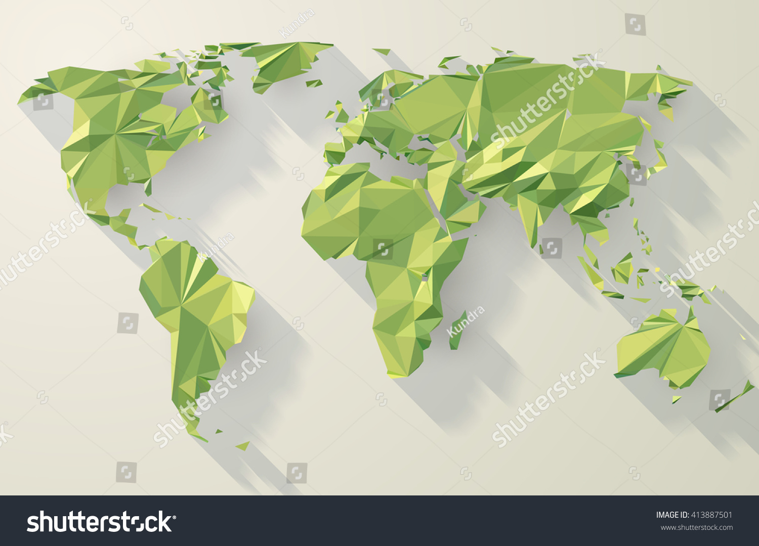 Vector world map low poly design stock vector 413887501 shutterstock vector world map low poly design green origami planet illustration gumiabroncs Image collections