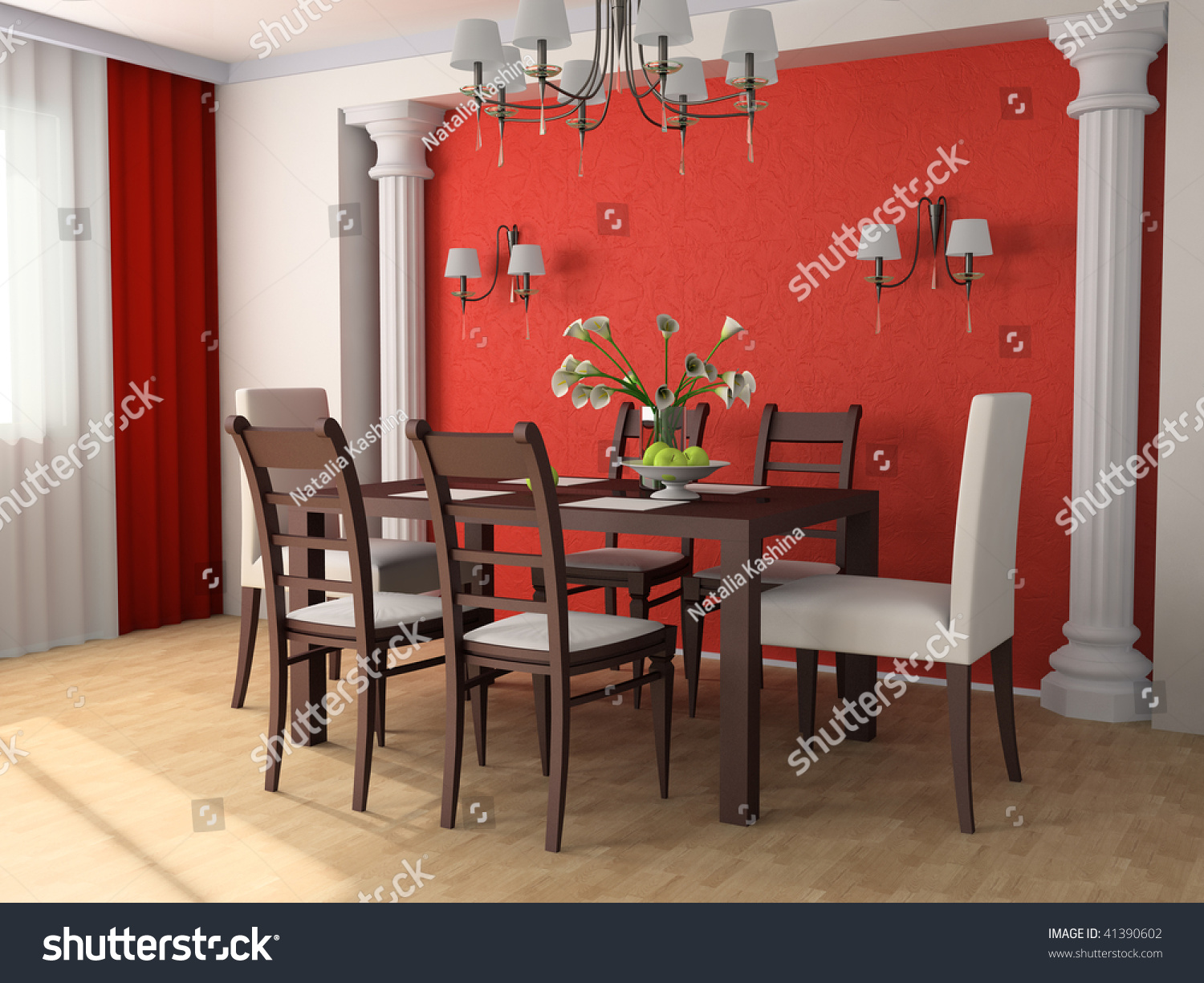 Dining table against a wall 3d image stock photo 41390602 - Dining table against the wall ...