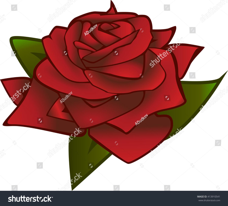 Vector Red Rose Emblem Flower Stock Vector 413910541 - Shutterstock