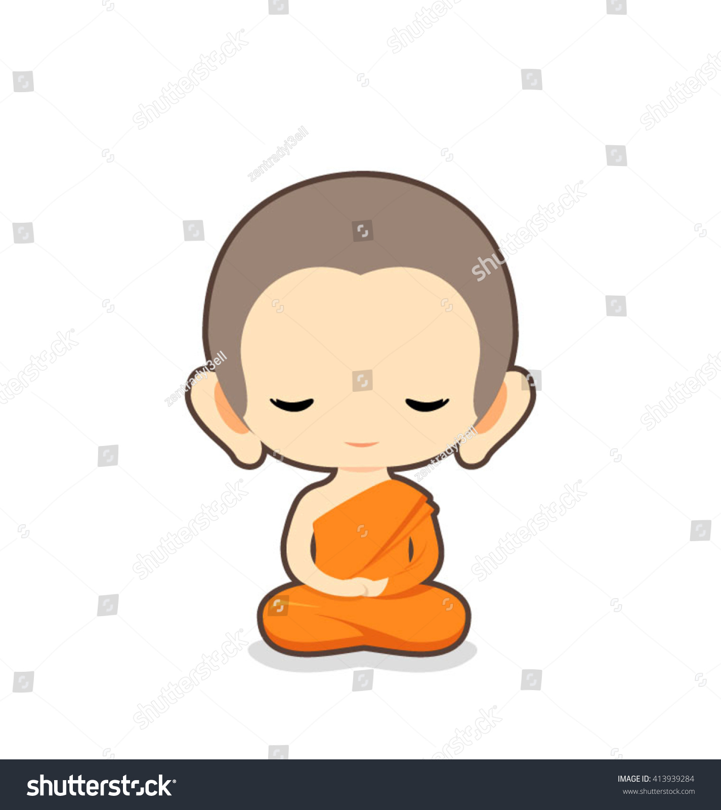 Buddhist Monk Character Designvector Illustration Stock Vector Hd